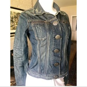 Thomas Wylde Distressed Blue Denim Fitted Jacket